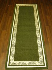 NEW NON SLIP TOP QUALITY RUNNERS 66X185CM APROX 6FTX2FT3 KEY DESIGN GREEN/CREAM